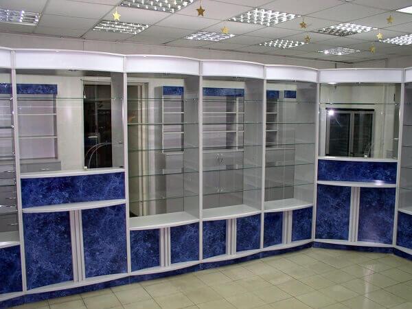 Синяя мебель для аптеки на заказ